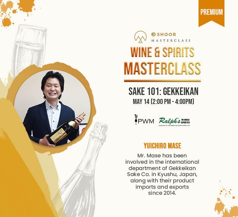 Yuchiro Mase for Wine and Spirits Masterclass about Sake 101 Gekkeikan