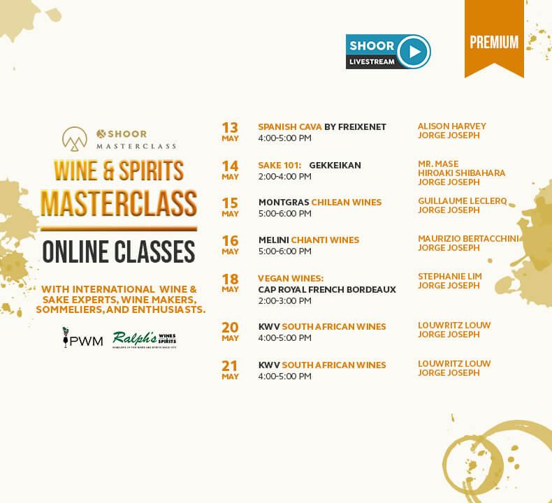 Schedule of Wine and Spirits Masterclass for Shoor Online Masterclass