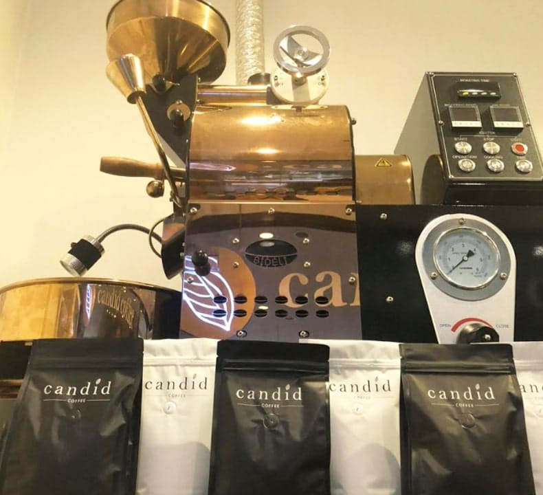 Candid Coffee Beans and Coffee Machine