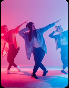 Three women dancing for hip hop online dance class