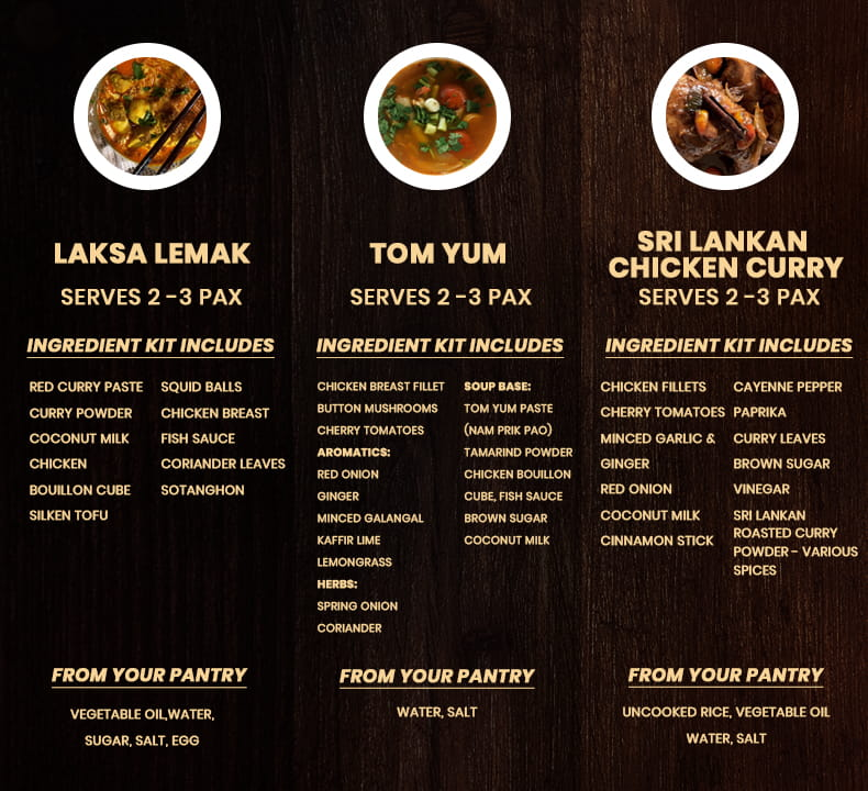 Kit Inclusions for Laksa Lemak, Tom Yum, and Sri Lankan Chicken Curry for Travel with Your Taste Buds: Asia Edition