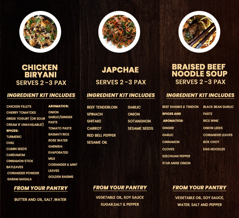 Kit Inclusions for Chicken Biryani, Japchae, Braised Beef Noodle Soup for Travel with Your Taste Buds: Asia Edition