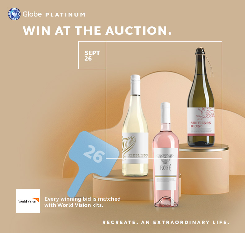 Win at the Wine & Spirits Virtual Auction by Globe Platinum