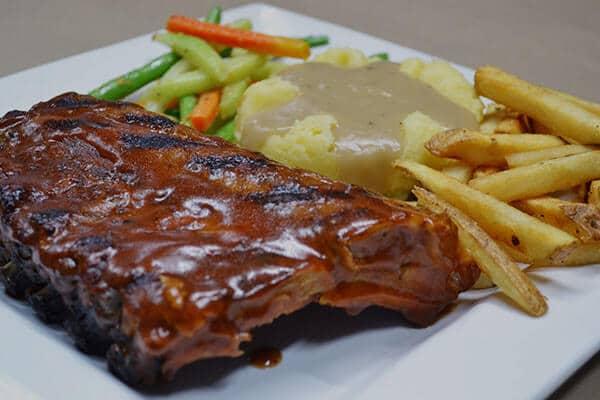 Pork ribs with mashed potato dish