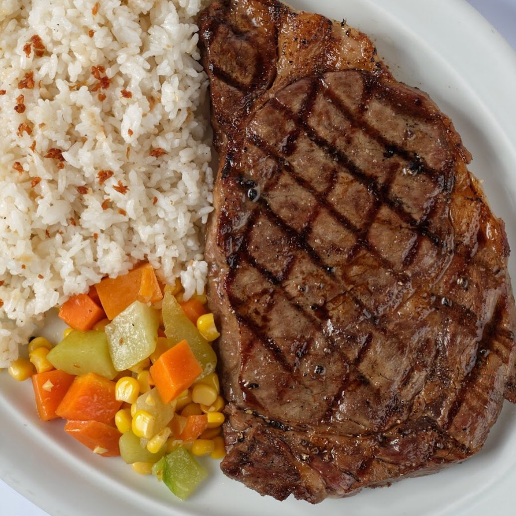 Steak and rice meal