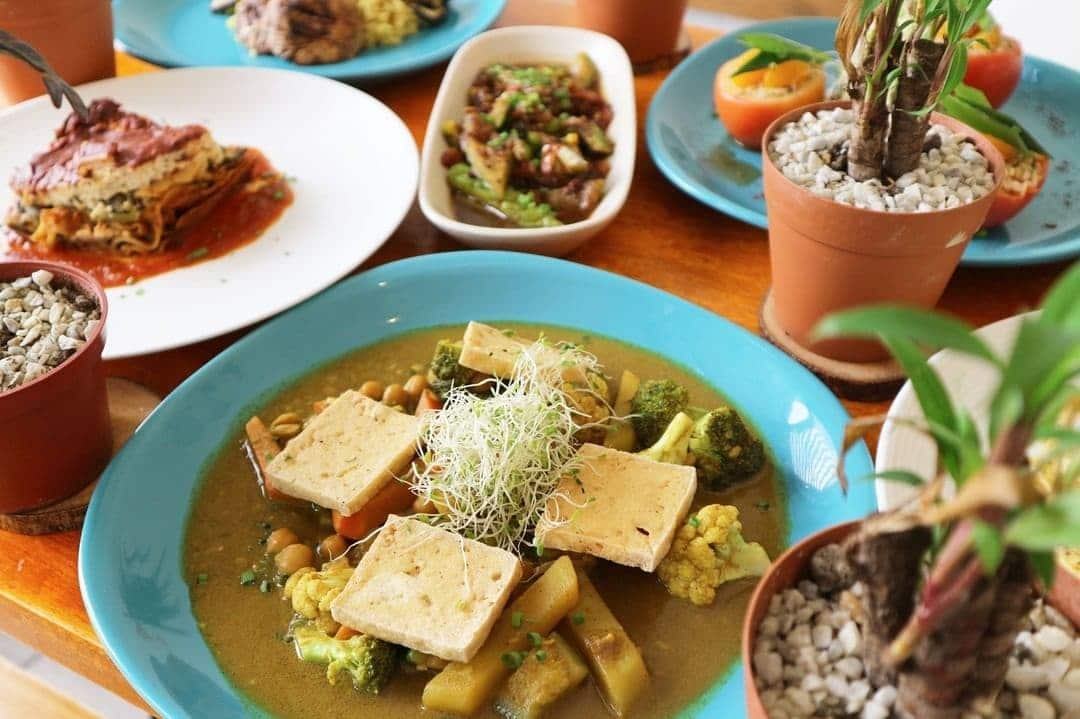vegetarian dishes on a table