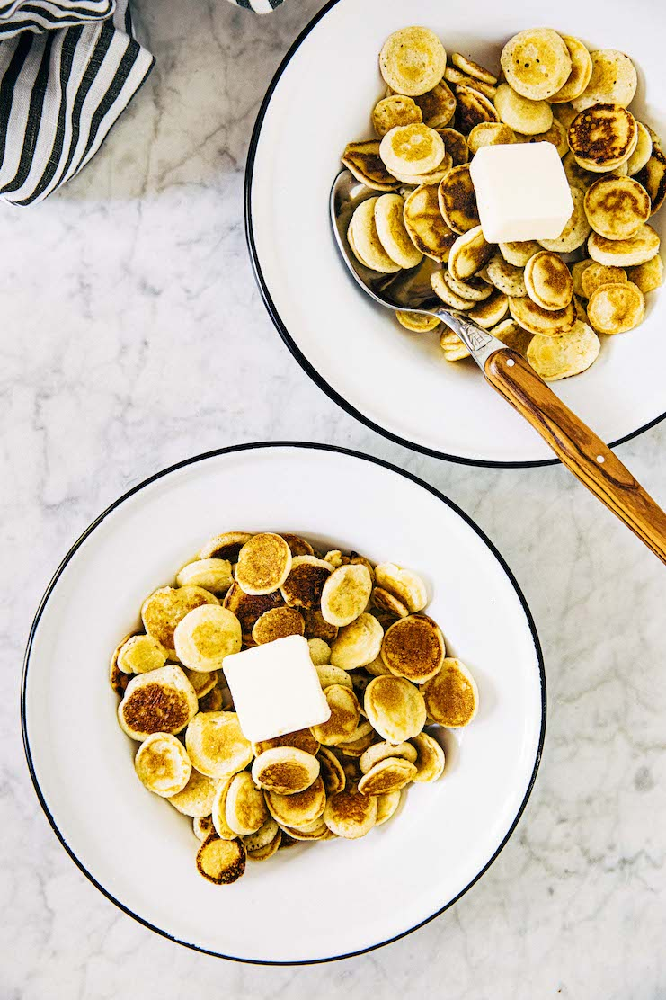 miniature pancakes in a bowl