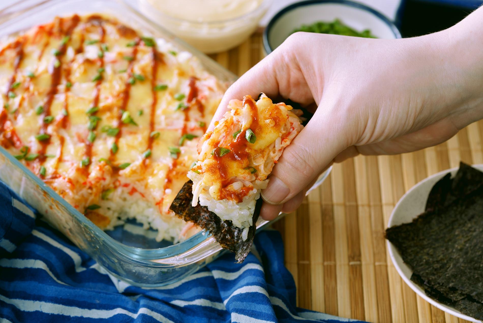 tray of baked sushi casserole